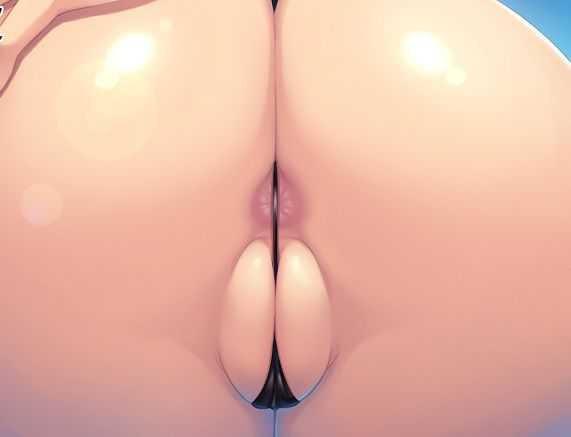 【二次アナル画像】ビキニでキメた女の子のお尻の穴がはみ出て見えちゃっててエロい
